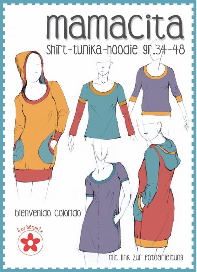 Papier Schnitt Mamacita Shirt Tunika Hoodie