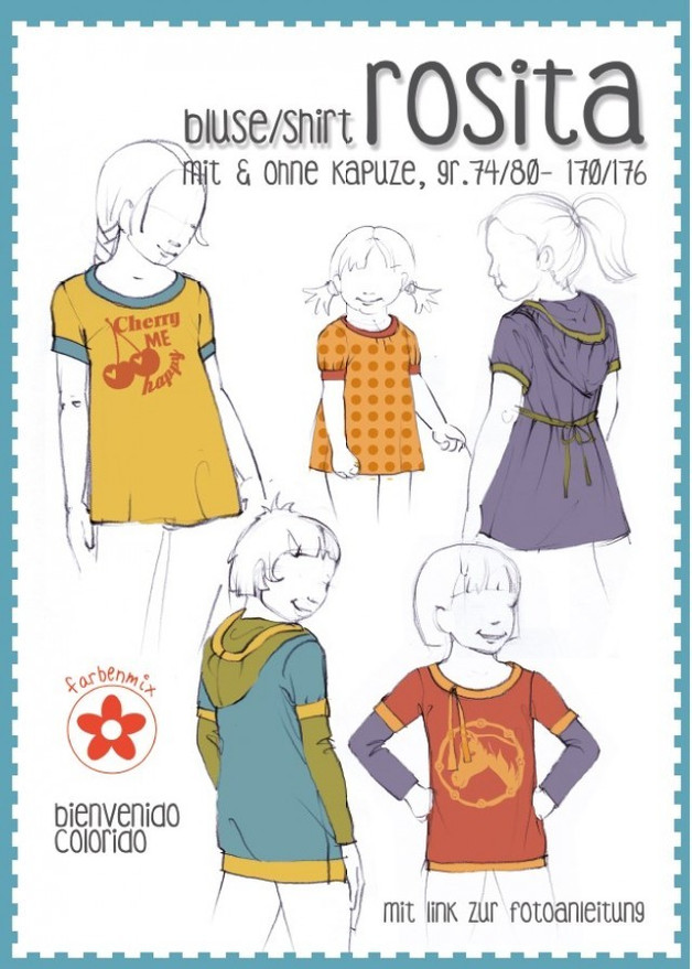 Papier Schnitt Rosita Shirt Tunika Hoodie Kind