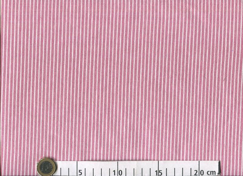 0,5m Baumwoll Denim Jeans Streifen rosa weiß