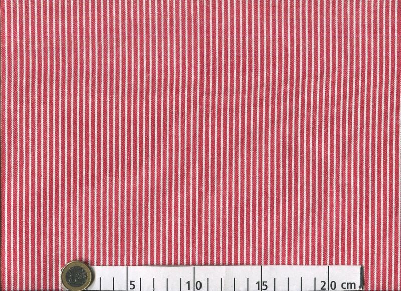 0,5m Baumwoll Denim Jeans Streifen rot weiß