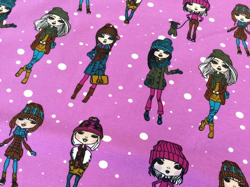 0 5 Jersey Winter Girls Beere pink braun