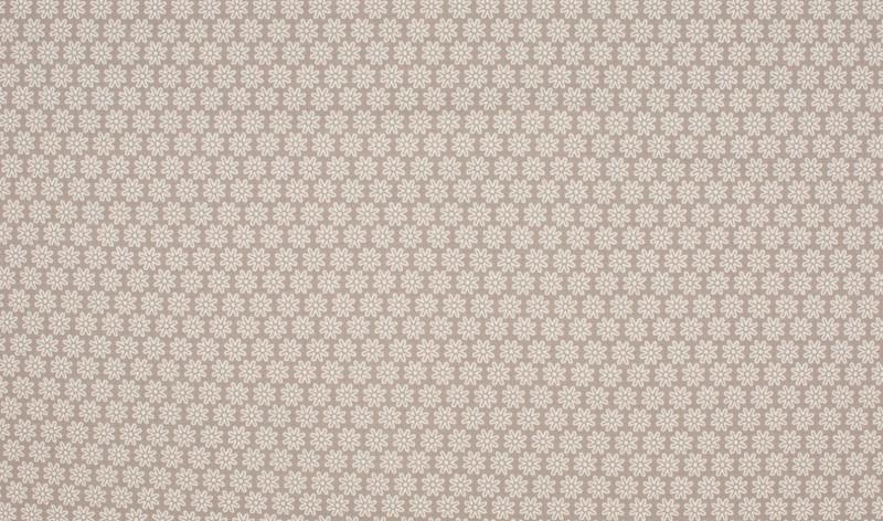 05m Jersey Blümchen taupe weiß grau - 1