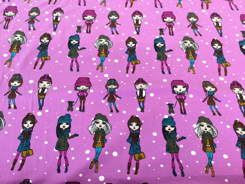 0 5 Jersey Winter Girls Beere pink schwarz