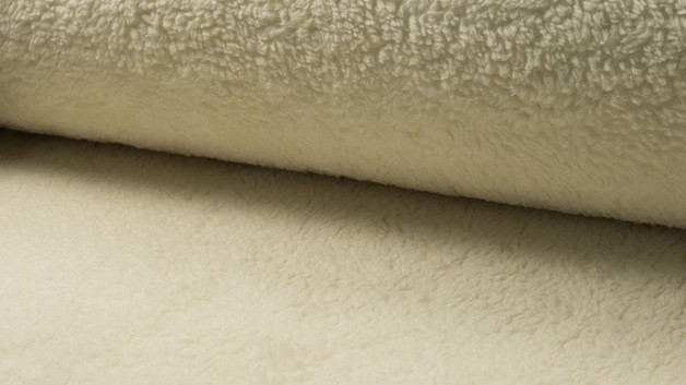 05m Baumwoll Teddy Plüsch creme weiß - 1