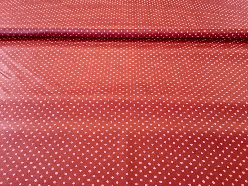 0 5m Beschichtete Baumwolle Punkte dunkelrot pink