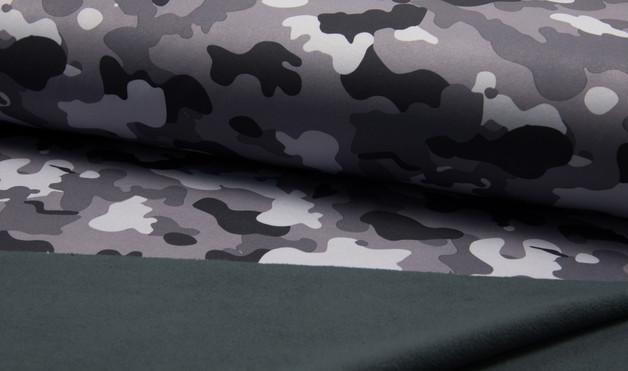 0 5m Softshell Fleck Tarn grau weiss schwarz