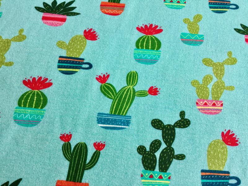 05m Jersey Kaktus mint Türkis bunt