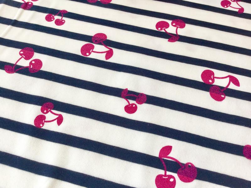 0 5m Jersey Weiss Navy Glitzer pink kirschen