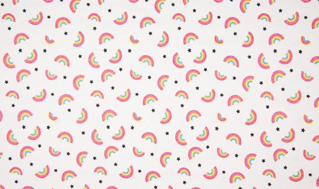 0 5m Jersey weiss bunt Glitzer Regenbogen Rainbow