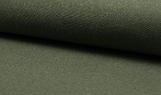 0,5m Bündchen meliert glatt Khaki grün - 1