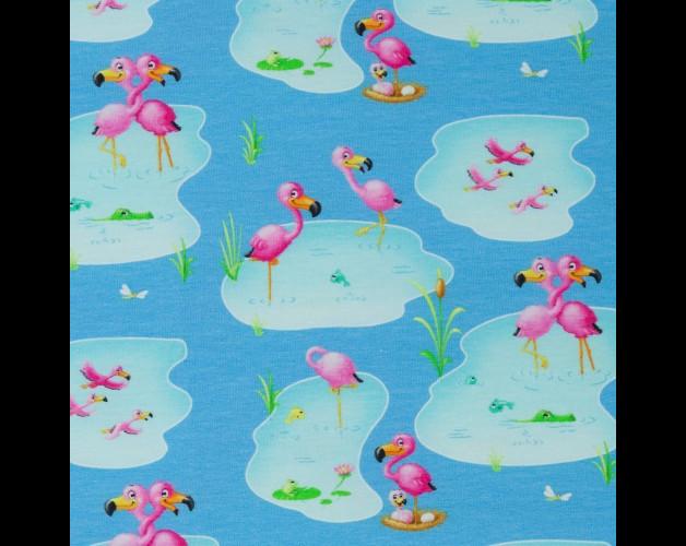 05m Jersey Flamingos türkis aqua pink - 1