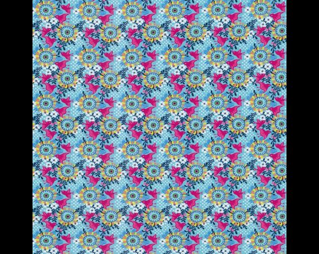 05m Jersey Blumen türkis aqua pink - 1