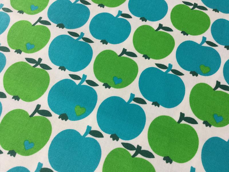0,5m beschichtete Baumwolle grün blau Äpfel - 1