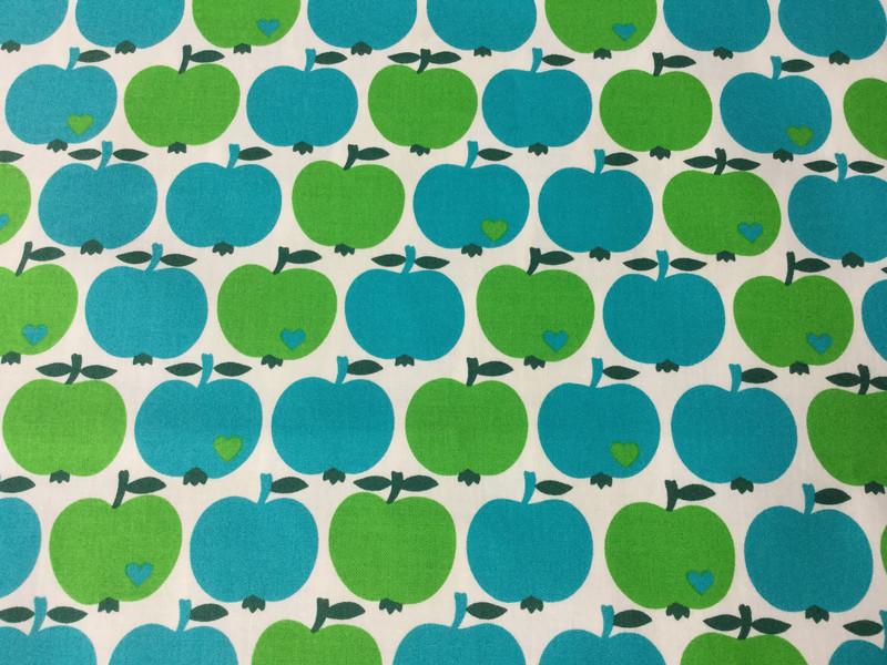 0,5m beschichtete Baumwolle grün blau Äpfel - 2