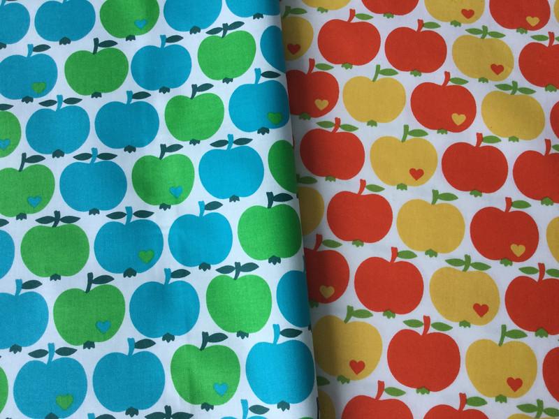 0,5m beschichtete Baumwolle grün blau Äpfel - 3