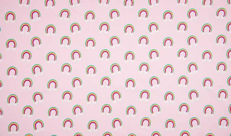 0 5 m Jersey Herzen Hearts rosa pink bunt weiss