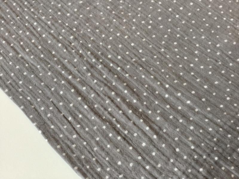 0 5m Musselin Double Gauze grau weiss Dots