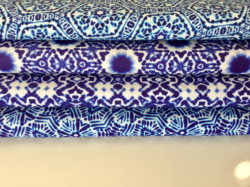 0 5m Baumwolle Shibori Batik Kumo Indigo weiss
