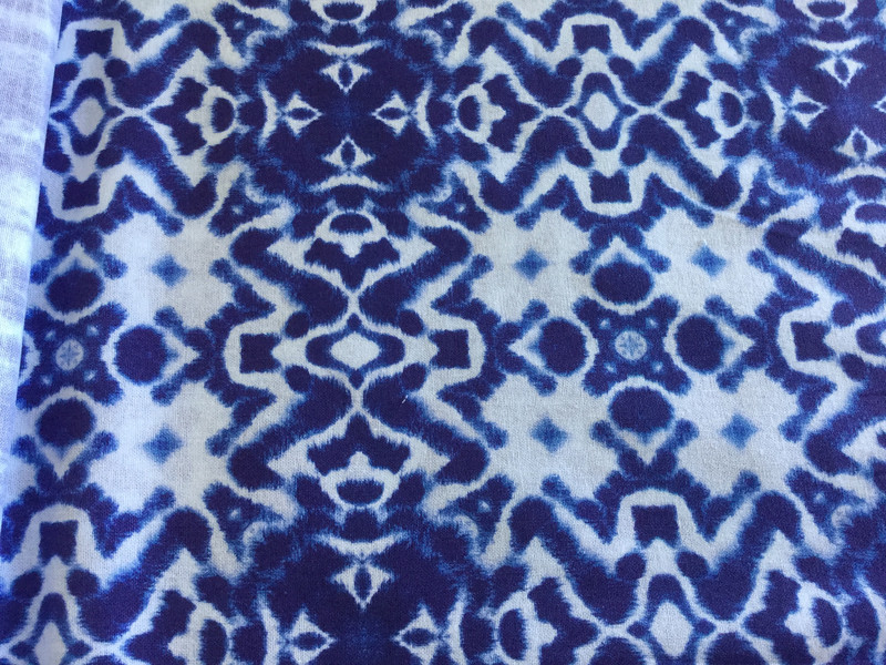 0,5m Baumwolle Shibori Batik Haru Indigo weiß