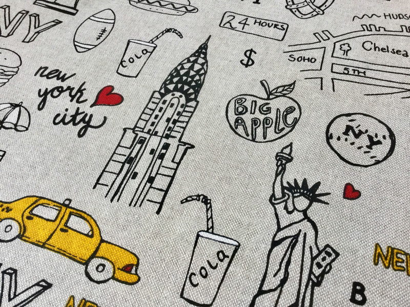 0 5m Canvas Taschenstoff Deko Leinen New York