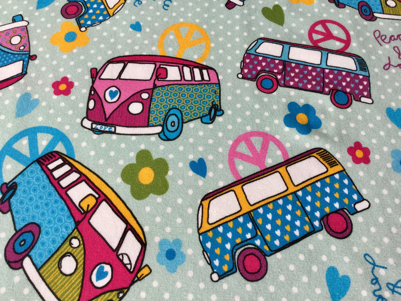 0 5m Jersey Bus Hippie Flower Power dusty Mint bun