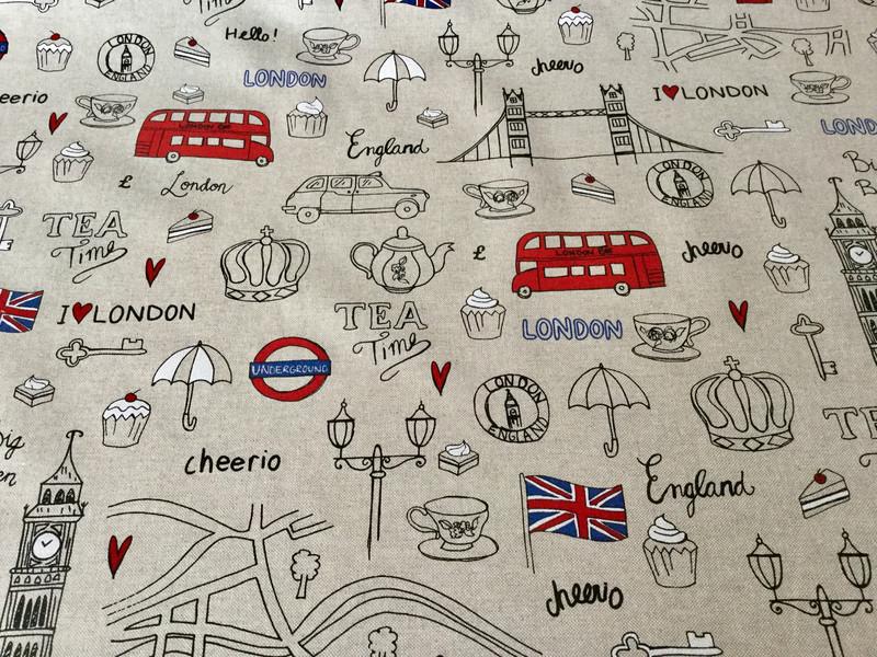 05m Canvas Taschenstoff Deko Leinen London