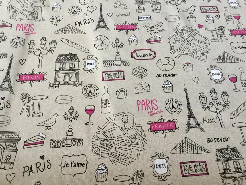 05m Canvas Taschenstoff Deko Leinen Paris - 3