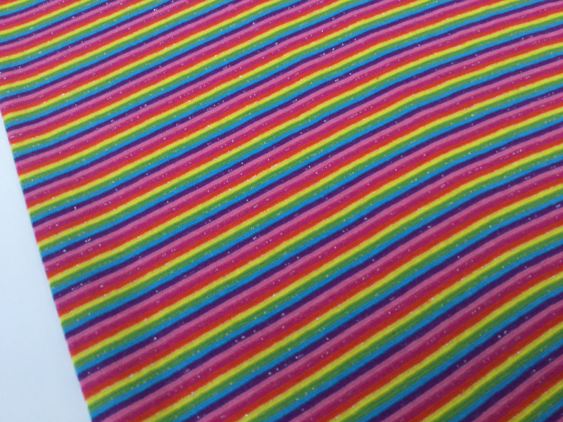 05m Ringel Bündchen glatt Regenbogen Glitzer