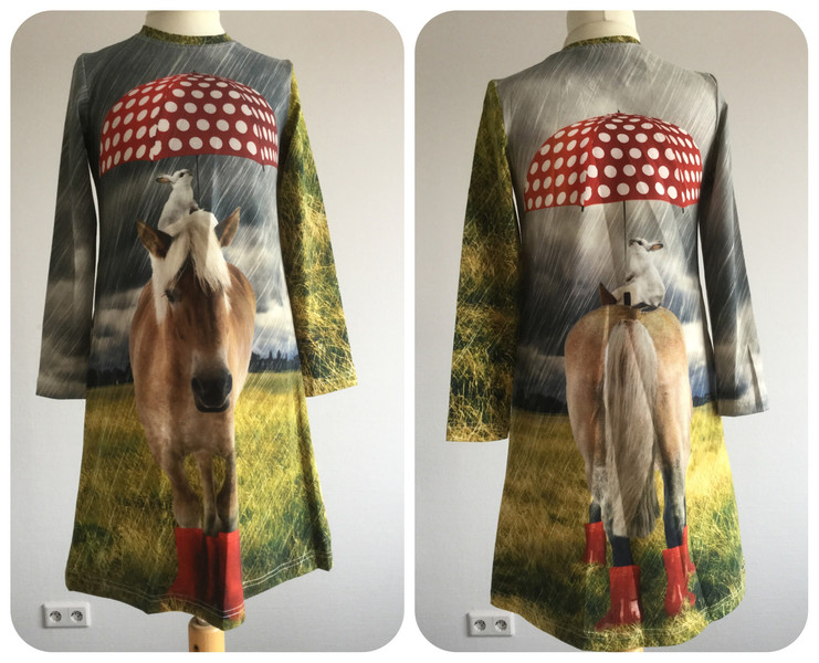 Panel Jersey Pony mit Schirm Punkte Digitaldruck