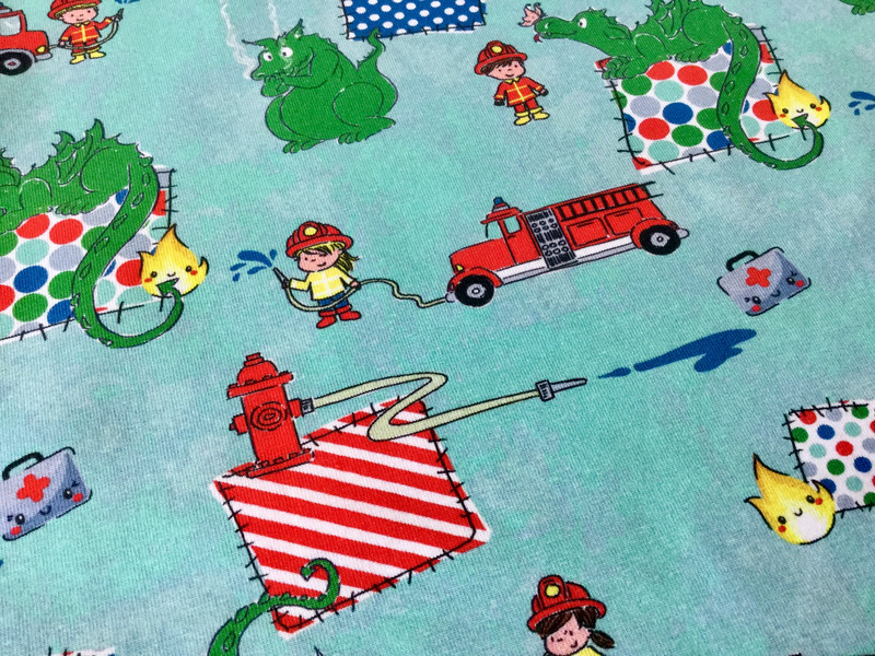 0 5 m Jersey Feuerwehr mit Drachen gruen rot