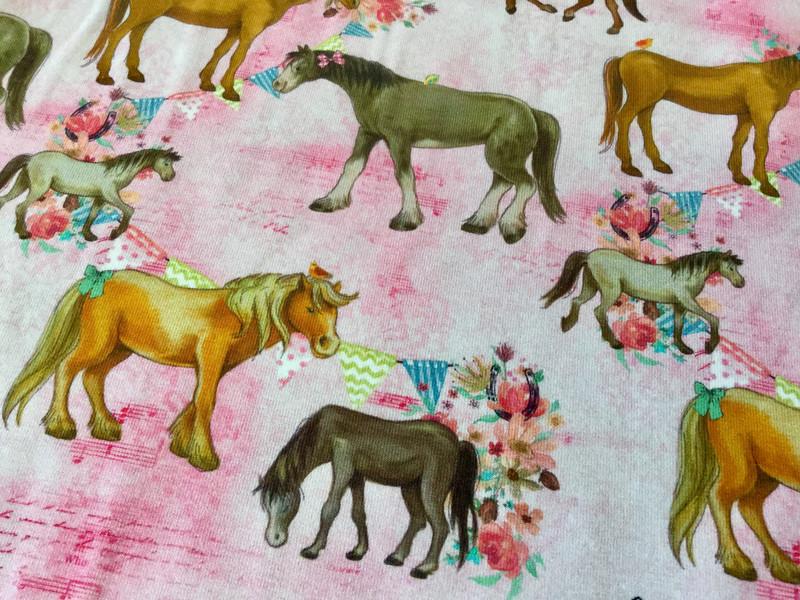 0 5m Jersey Pferde rosa Blumen