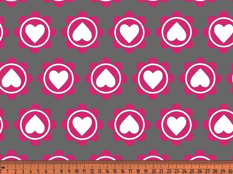 0 5m Jersey Retro Heart grau pink