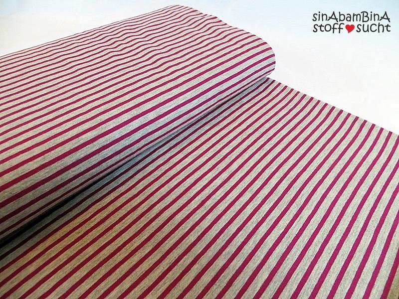 0 5m Ringel Jersey Streifen grau meliert/fuchsia
