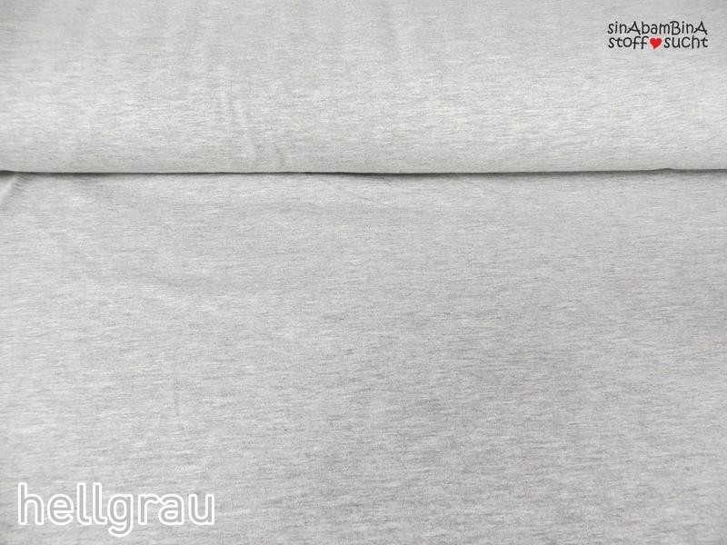 0,5m Baumwoll Jersey uni hellgrau 302 grau grey - 2