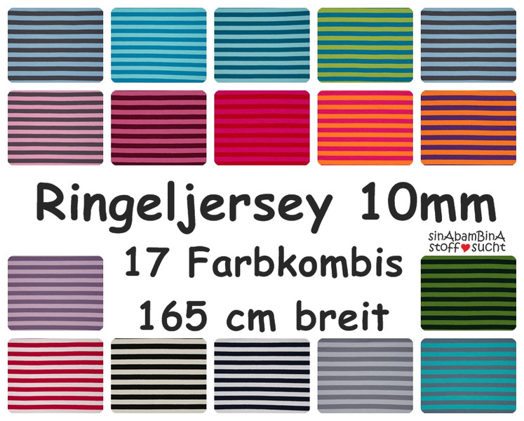 0 5m Ringel Jersey Streifen schwarz weiss 10mm
