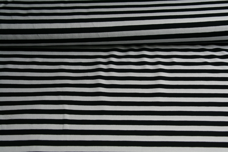 05m Ringel Jersey Streifen schwarz weiß - 3