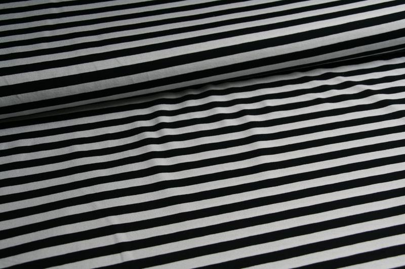 05m Ringel Jersey Streifen schwarz weiß - 4