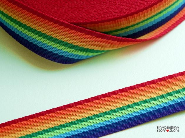 1m Gurtband Regenbogen Rainbow bunt - 1