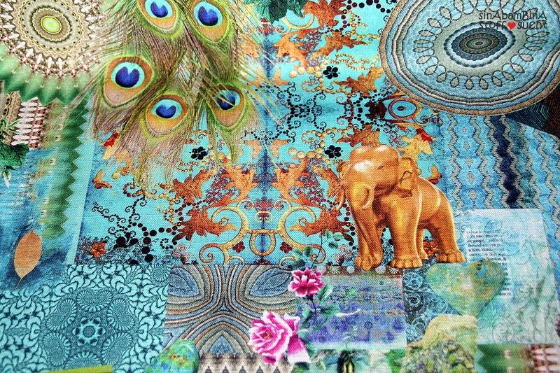 05m Canvas Taschenstoff Elefant Pfau türkis - 1