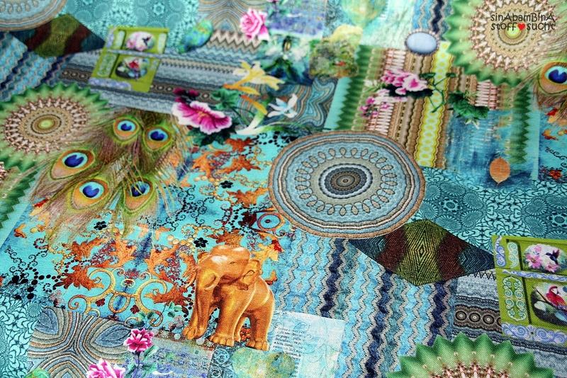 05m Canvas Taschenstoff Elefant Pfau türkis - 2
