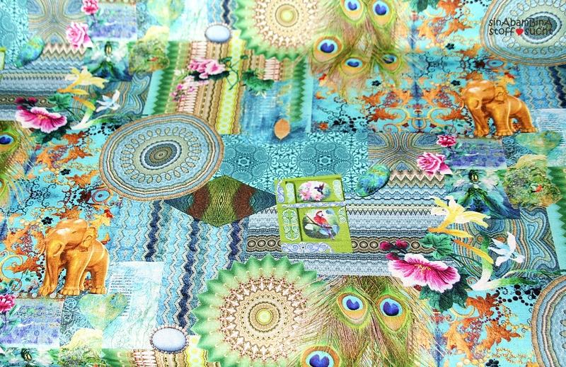 05m Canvas Taschenstoff Elefant Pfau türkis - 3