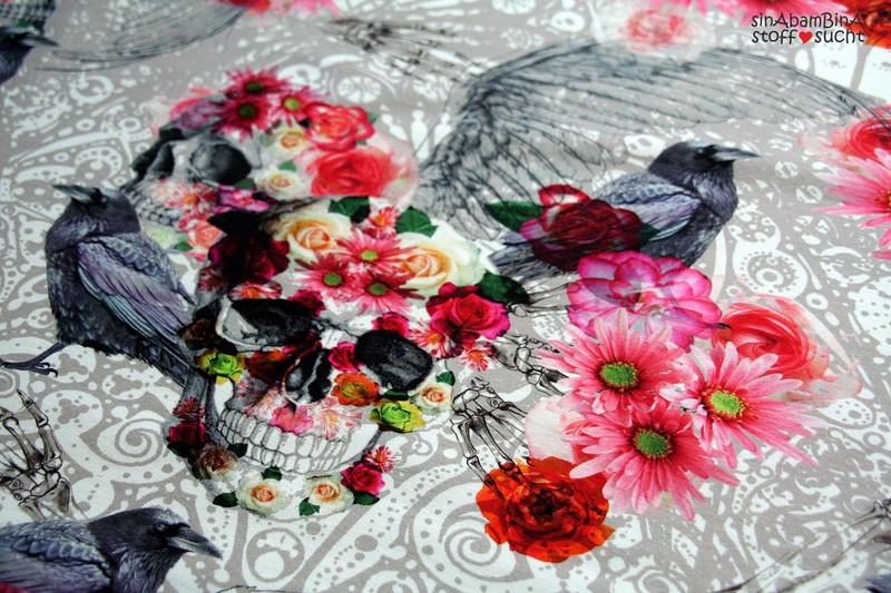 0 5m Jersey Digitaldruck Romantic Skulls Blumen