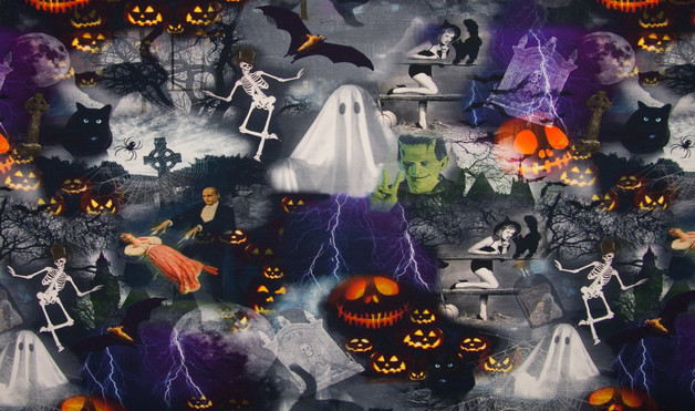05m Jersey Digitaldruck Halloween Grusel Gespenst - 1