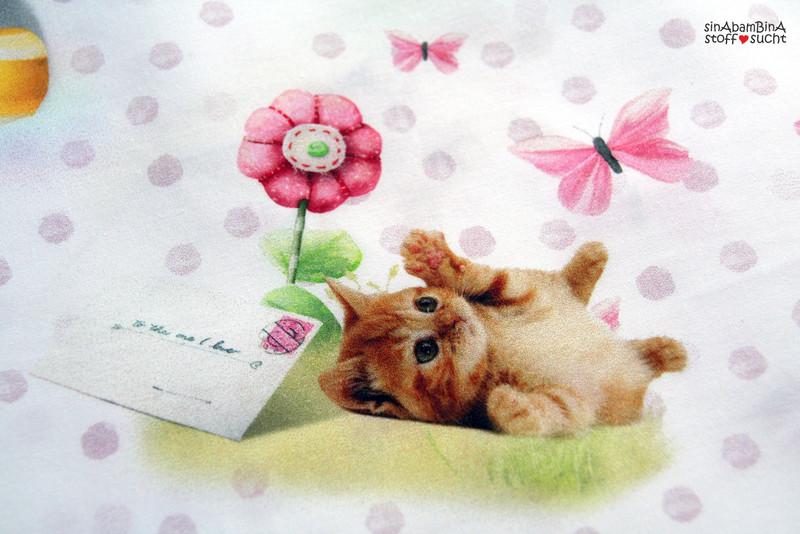 0,5 m Baumwolle weiß bunt Baby Kind Katze Spielen - 2
