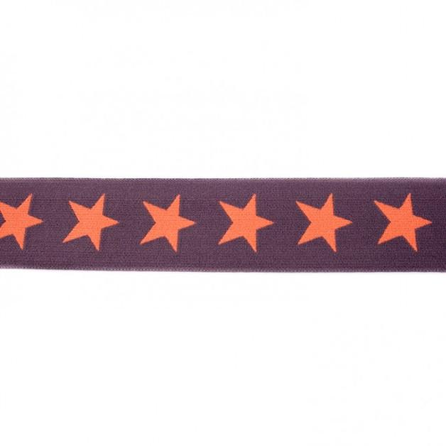 1m breites Gummiband Sterne 4cm braun - 1