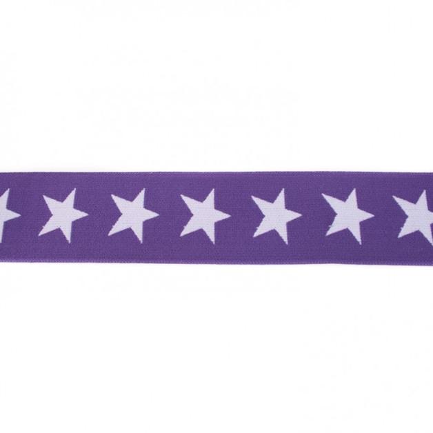 1m breites Gummiband Sterne 4cm lila flieder