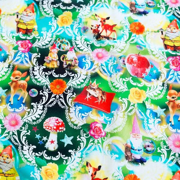 0 5m Baumwolle Canvas Digitaldruck Zwergenland