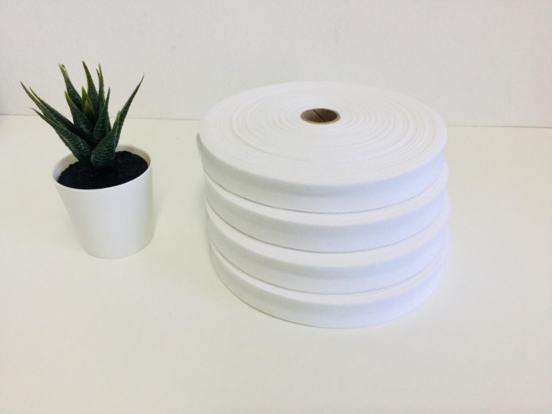 Angebot 50m Baumwollschrägband 2cm weiß 2