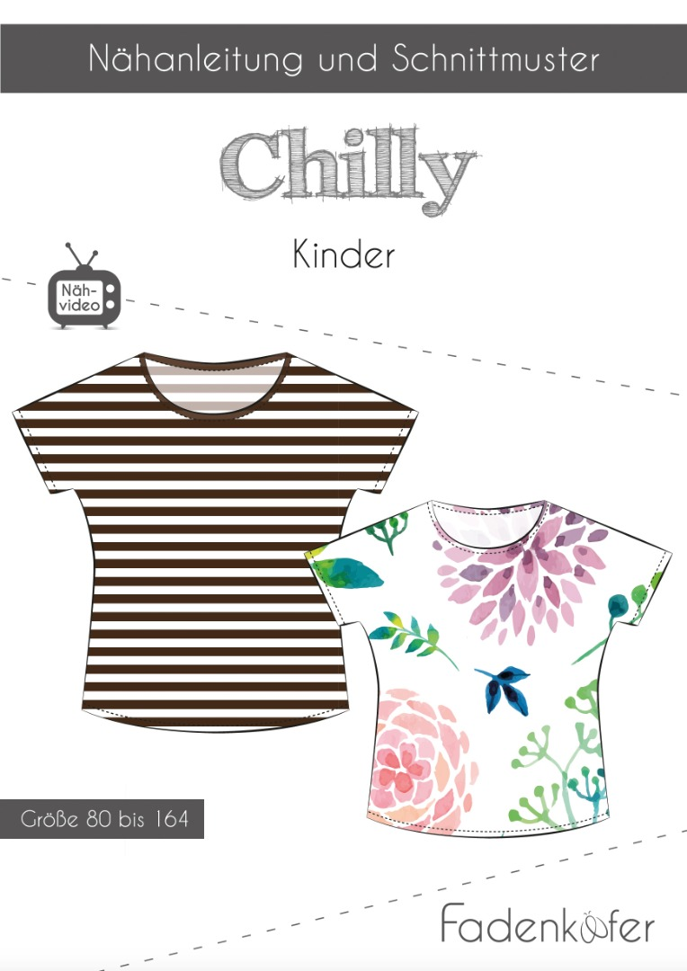 Papierschnittmuster Fadenkäfer Shirt Chilly Kids Gr