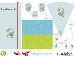 Panel Lillestoff Jersey Schultüte Dinosaurier by